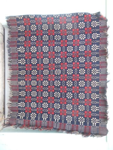 Great Antique White Blue And Red 2 Panel Woven Homespun Summer Winter Coverlet