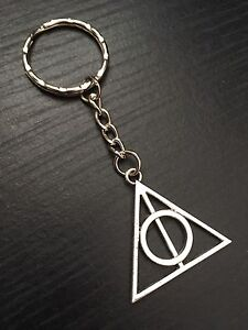 Silver Tone Harry Potter Deathly Hallows Keyring, Keychain, Great Gift