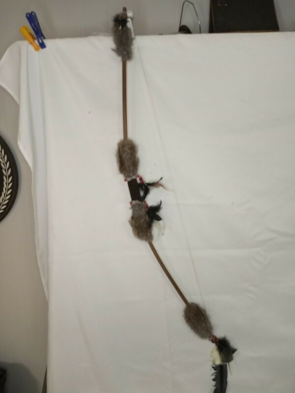 Decorative Native American Bow with Feather, Fur & Beads 46 inches long