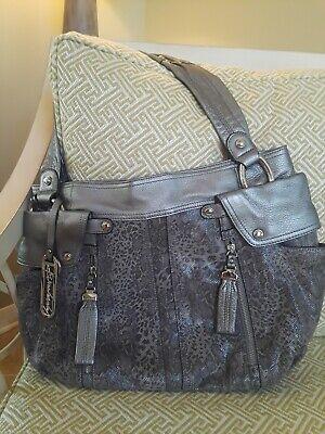 B. Makowsky Metallic Silver Animal Print Leather Shopper Tote Handbag