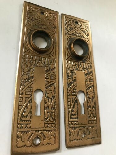 "PAIR (2) OLD ART CRAFT DECO VICTORIAN 5 1/2"" CAST BRASS ANTIQUE DOOR KNOB PLATES"
