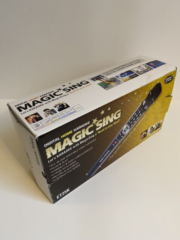 Magic Sing ET25K Karaoke Wired Mic Microphone Complete in Box