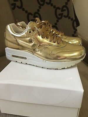 Women's Nike Air Max 1 SP Liquid Gold Metal Mirror Chrome Metallic Sz 5