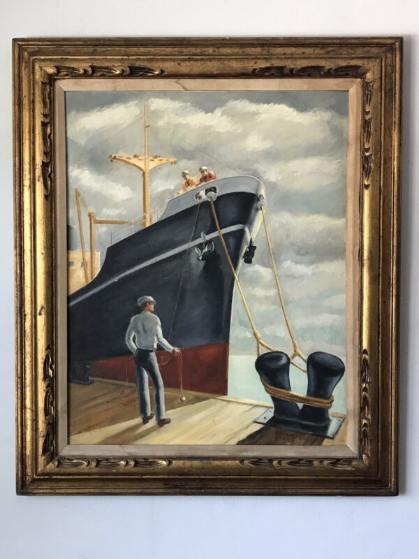 1940s VINTAGE ART DECO OIL PAINTING -SIGNED- SHIP MILITARY MODERN IMPRESSIONIST