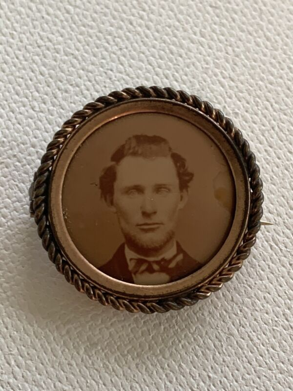 Antique Victorian Photograph Mourning Jewelry Brooch Pin Handsome Young Man