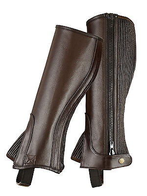 ADULTS HALF CHAPS BROWN TOP QUALITY FULL GRAIN COWHIDE LEATHER-ALL -