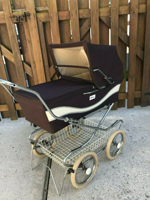 Vintage Perego (1979) - Brown Velvet Baby Carriage Pram - Excellent Condition