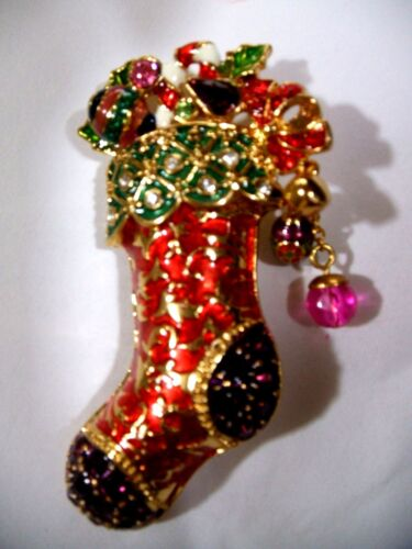 HASKELL  Rhinestone  Christmas  Stocking  Pin