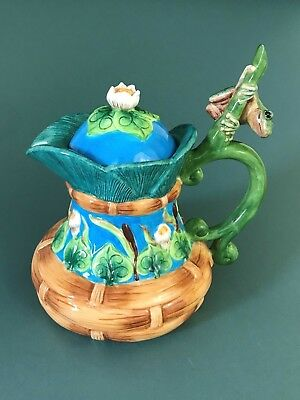 House of Hatten Peggy Fairfax Herrick Majolica Ceramic Ice Tea Pot Frog Lily Pad