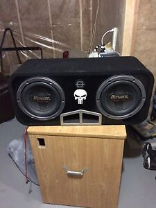 """2 10""""premier subwoofers and box"""