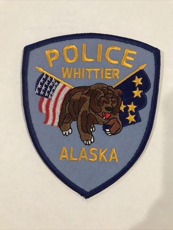 Whittier Alaska Police Patch - Kodiak Bear, US Flag, Alaska State Flag - New