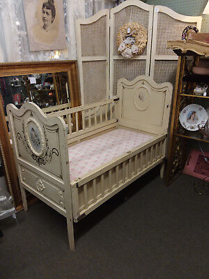Antique/Vintage French Painted Baby Bed/Crib Cherubs- Mattress-One-of-a-Kind