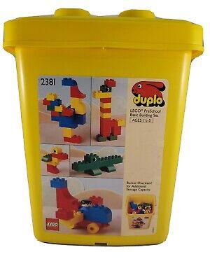 Vintage Duplo Lego PreSchool Basic Building Set Ages 1 1/2 - 5 2381 With Bucket