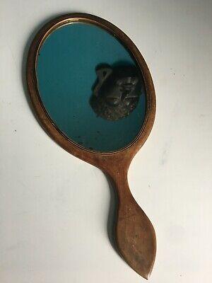 Stunning Antique George III Mahogany Boxwood And Ebony Strung Hand Mirror