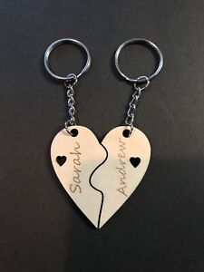 Personalised Valentines Love Couple Matching Fit Together Keyring