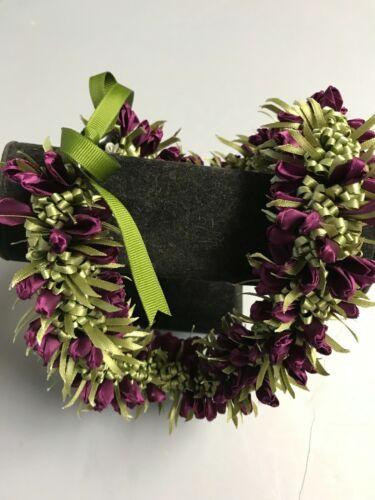 Hawaiian Ribbon Crocus Chocker Lei Hat Band Plum