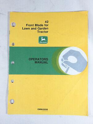 John Deere 42 Snow Plow Front Blade Operators Manual Fits Lawn Tractor 110