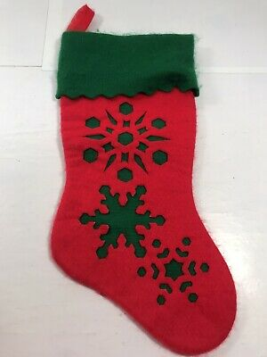 Cut Out Snowflakes Red Green Christmas Stocking Hanging Display Decoration