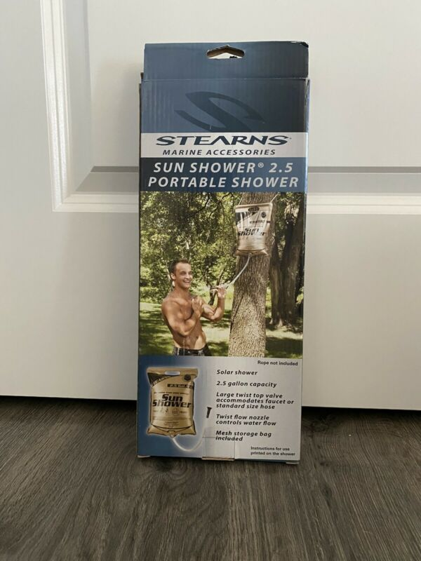 NEW: STEARNS Sun Shower. Outdoor shower system. 2.5 gallon Portable