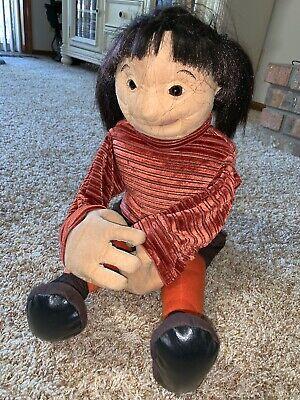"""HTF Folkmanis Girl With Ponytails Hand Puppet 24"""" Plush Doll Ethnic Hispanic"""