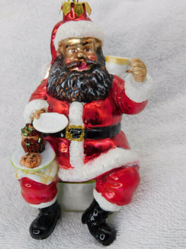 African American Santa Blown Glass Christmas Tree Ornament Robert Stanley New