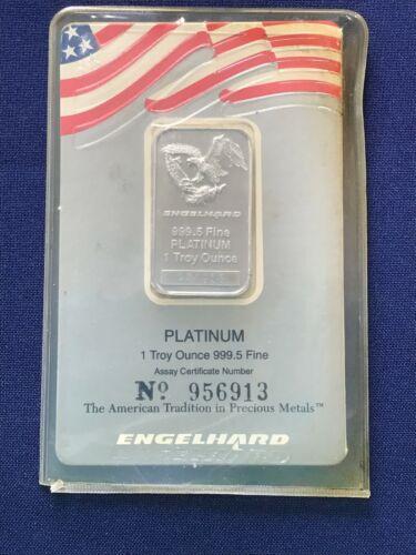 Englehard 1 oz Platinum Bar Eagle Logo Italic Block Hallmark Ser #956153 E6559