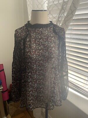 ZARA Women's Shirt Long Sleeve Size M Black Floral Sheer With Lace