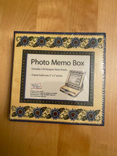 """NEW MARTIN DESIGNS PHOTO MEMO BOX  NOTE SHEETS AND 3"""" X 5"""" FRAME"""