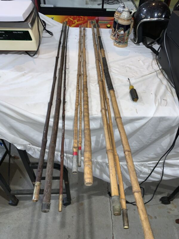 Lot of 3 vintage cane fishing pole Free Shipping