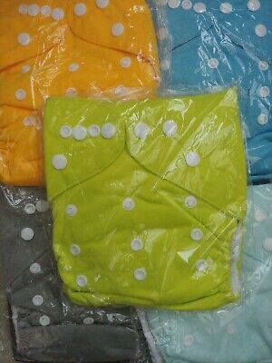 Lot Of 5 Alva Baby Cloth Diapers - Green, Yellow, Blue, Light Blue, Grey