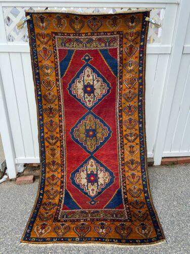 old estate antique kazak turkish caucasian heriz oriental rug runner