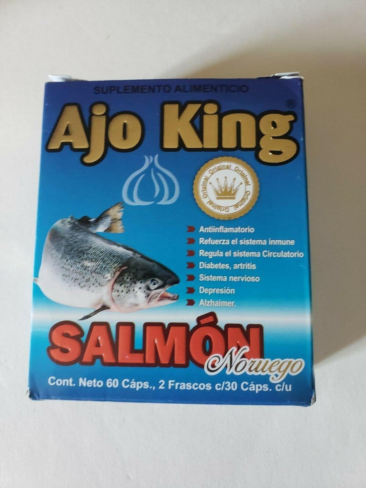 "AJO KING "" SALMON "" NORUEGO SUPLEMENTO ALIMENTICIO 2 FRASCOS 60 CAPSULAS"