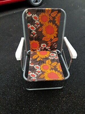 Folding garden / camping chair, Vintage floral pattern garden furniture
