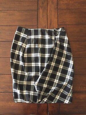 Asos Black White Checkered Uniform Bubble Pencil Plaid Tartan High Waist Skirt 4