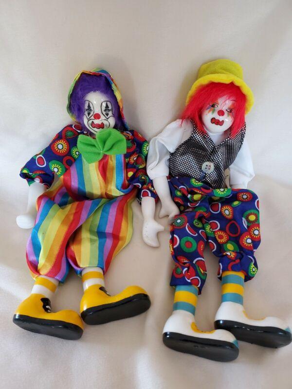 "2 Rare Vintage Porcelain Head, Feet, & Hands 12"" Circus Clown Doll Flimsy Limbs"