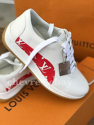 AUTHENTIC SUPREME X LOUIS VUITTON SNEAKERS UK 6.5 LV MONOGRAM RED SHOES 7.5 / 40