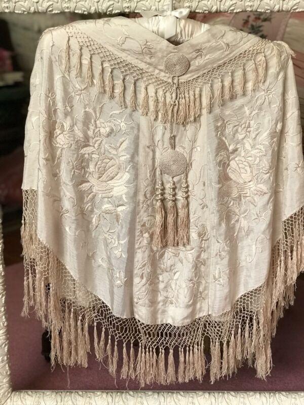 Piano Shawl Silk Wedding Cape