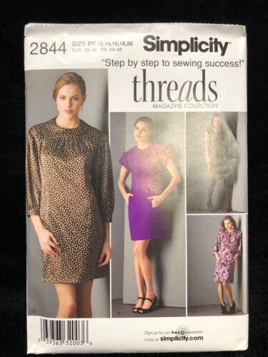 Simplicity Sewing Pattern 2844 Petite Dress and Tie Belt Size P5 12-20
