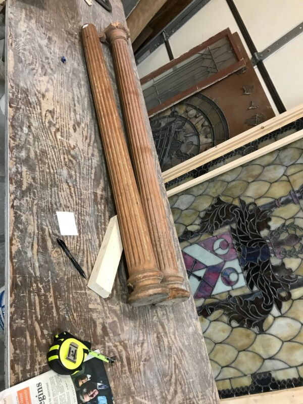 An Pair Antique fluted Oak Columns 50 x 3 x 5
