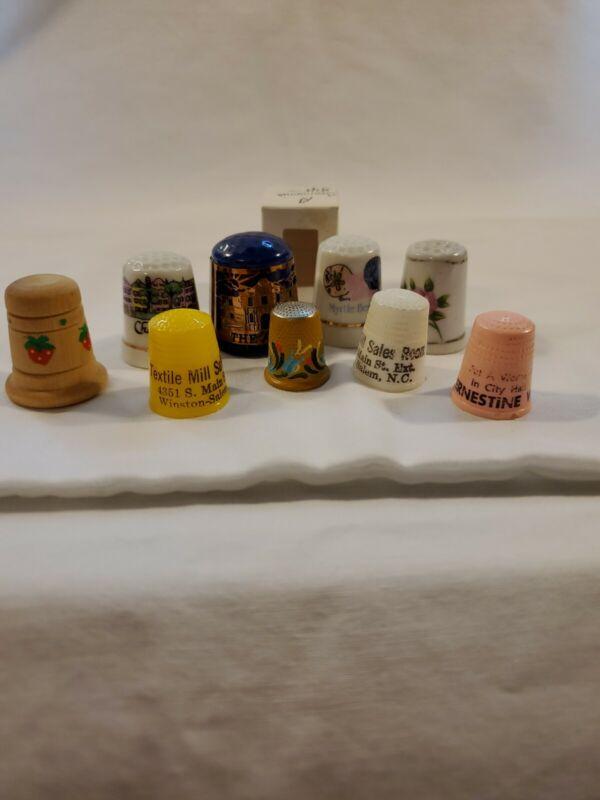 Vintage Thimbles Lot (9) Metal  Porcelain Wood Plastic Ads Commemorative