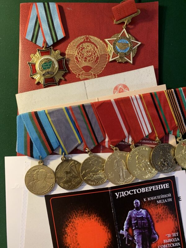Award Group Of 9  Commemorative Medals and badges of the Participant Afghan war.