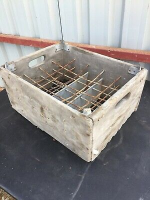 Vintage Old Wooden & Metal Bottle Crate  2/6/G/LB