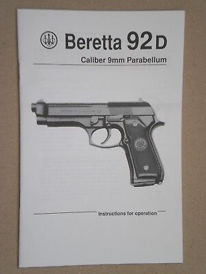 1 Original Booklet Beretta 92 Do Everything Manual Assembly Disassembly