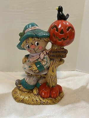 VINTAGE GLENVIEW MOLD HAND PAINTED PUMPKINS FOR SALE SCARECROW CERAMIC FIGURINE