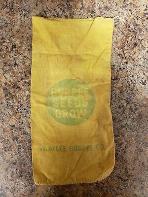 Vintage Burpee Seeds Company Cloth Seed Bag Sack W. Atlee Burpee Co.