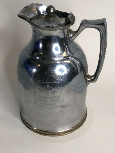 Antique Edgewater Beach Hotel CHICAGO Silver Thermal Pitcher Stanley Insulating