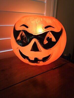Vintage Masked Pumpkin Jack-O-Lantern Halloween Candy Bucket Blow Mold with lite