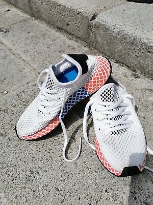 adidas deerupt size 3.5 trainers sport shoes, white, blue and red