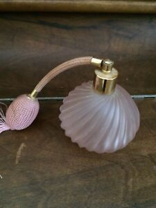 Pink glass perfume bottle with bulb