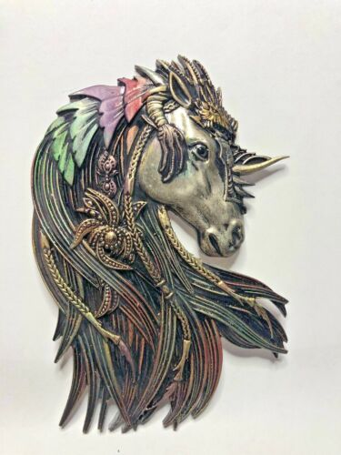 Neil Eyre Designs Lg Magic Unicorn Horse Metallic Pewter Gold Rainbow magnet